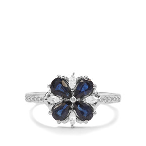 Australian Blue Sapphire & White Zircon 9K White Gold Ring ATGW 1.16cts