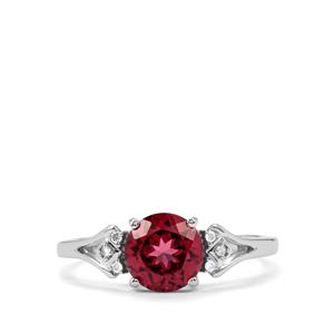 Mahenge Garnet Ring with Diamond in 10K White Gold 1.66cts