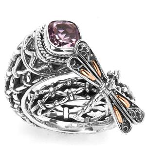 1ct Zamian Amethyst Sterling Silver with 18k Gold accents Samuel B Dragonfly Ring