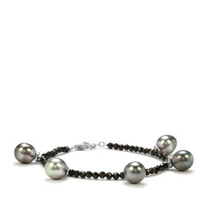 Tahitian Cultured Pearl & Black Spinel Sterling Silver Bracelet (11 x 9.50mm)
