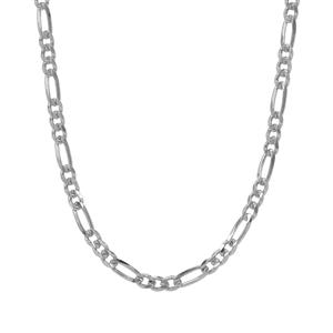 "36"" Sterling Silver Couture Diamond Cut Figaro Chain 5.33g"