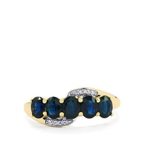 Australian Blue Sapphire Ring with Diamond in 10K Gold 1.62cts