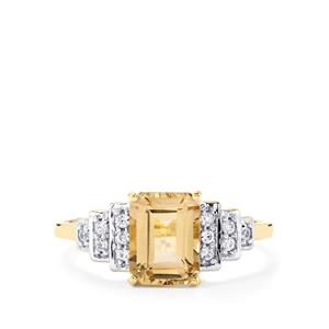 Champagne Danburite Ring with White Zircon in 10k Gold 1.78cts