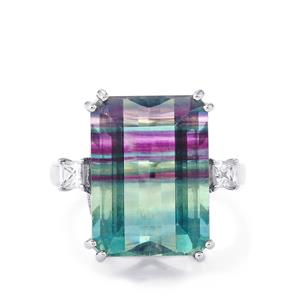 Zebra Fluorite Ring with White Zircon in Platinum Plated Sterling Silver 12.71cts