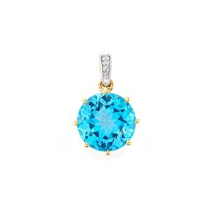Swiss Blue Topaz Pendant with Diamond in 10k Gold 8.05cts