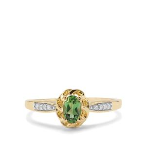 Chrome Tourmaline Ring with Diamond in 9K Gold 0.43ct