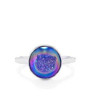 4.43ct Peacock Drusy Sterling Silver Aryonna Ring