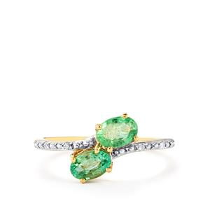 Zambian Emerald Ring with Diamond in 10k Gold 0.84cts