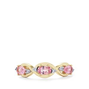 Sakaraha Pink Sapphire Ring with White Zircon in 9K Gold 0.97ct