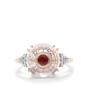 Lehrer Iris Lavender Quartz, Pink Tourmaline Ring with Diamond in 10K Gold 4cts