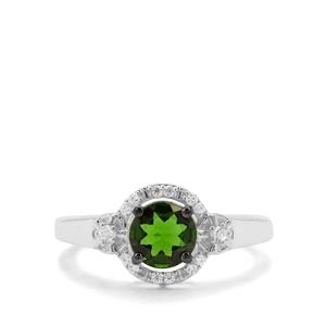Chrome Diopside & White Zircon Sterling Silver Ring ATGW 1.08cts