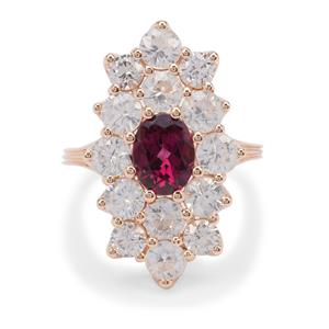 Comeria Garnet Ring with Natural Zircon in 9k Rose Gold 6.7cts