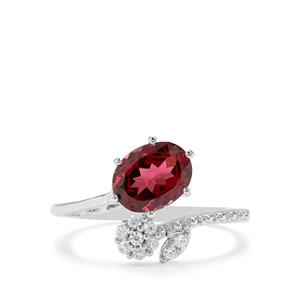 Mahenge Garnet & White Zircon Sterling Silver Nora Saul Ring ATGW 2.62cts