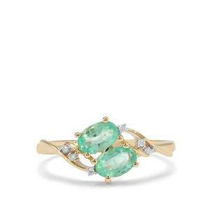 Colombian Emerald Ring with Diamond in 9K Gold 0.79ct