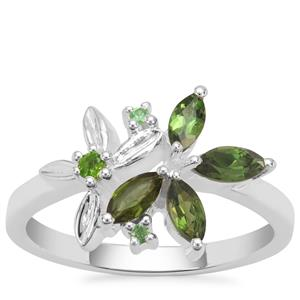 Chrome Tourmaline,Tsavorite Garnet Ring with Chrome Diopside in Sterling Silver 0.59ct