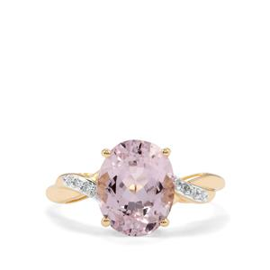 Minas Gerais Kunzite Ring with Diamond in 9K Gold 3.74cts