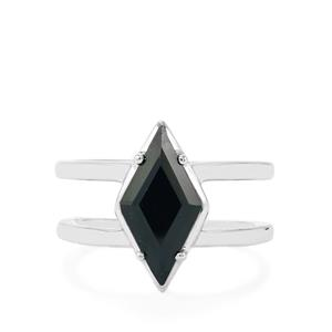Black Spinel Ring in Sterling Silver 3.92cts