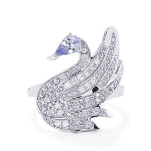 Tanzanite & White Zircon Sterling Silver Odette Ring ATGW 0.91cts