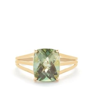 Green Colour Change Andesine Ring in 9K Gold 2.62cts