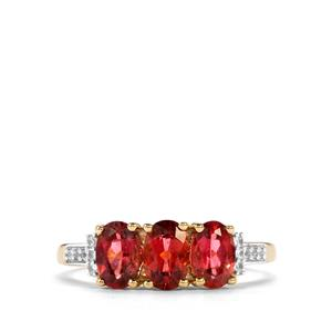 Cruzeiro Rubellite Ring with White Zircon in 9K Gold 1.41cts