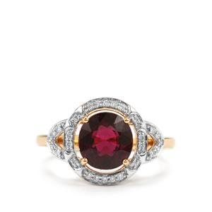 Comeria Garnet Ring with Diamond in 18K Gold 3.09cts