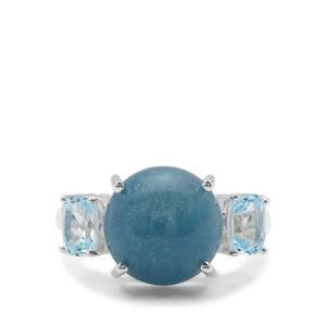 Thor Blue Quartz & Sky Blue Topaz Sterling Silver Ring ATGW 8.03cts