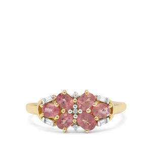 Padparadscha Sapphire Ring with White Zircon in 9K Gold 1.55cts