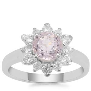 Natural Brazilian Kunzite Ring with White Zircon in Sterling Silver 2.64cts