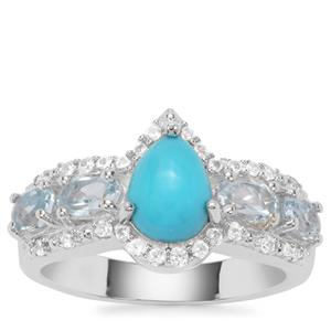 Sleeping Beauty Turquoise, Sky Blue Topaz Ring with White Zircon in Sterling Silver 2.44cts