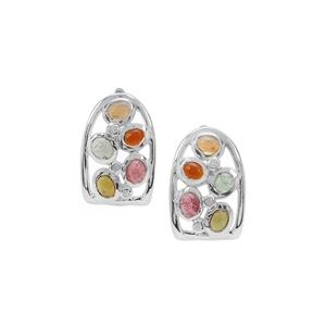 Multi-Colour Tourmaline Earrings with White Zircon in Sterling Silver 2.07cts
