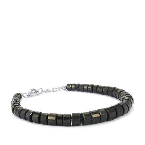 Black Spinel Graduated Bead Bracelet in Sterling Silver 116cts