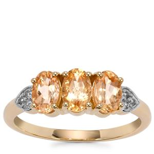 Ouro Preto Imperial Topaz Ring with White Zircon in 10K Gold 1.66cts