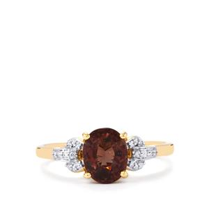 Bekily Color Change Garnet Ring with Diamond in 18k Gold 2.36cts