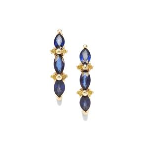 Sri Lankan Sapphire Earrings with Yellow Diamond in 9k Gold 0.96ct