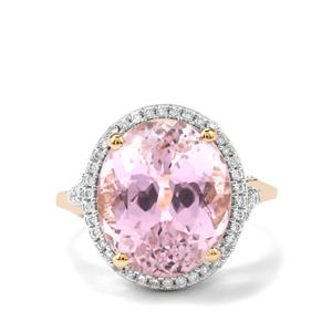 Mawi Kunzite Ring with Diamond in 18K Gold 11.75cts