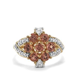 Natural Tanzanian Champagne Garnet Ring with White Zircon in 10k Gold 1.87cts
