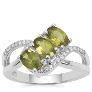 Vesuvianite Ring with White Zircon in Sterling Silver 1.62cts