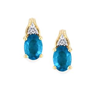 Neon Apatite Earrings with White Zircon in 9K Gold 1.13cts
