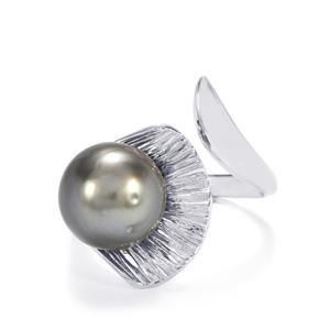 Tahitian Cultured Pearl Sterling Silver Ring (10mm)