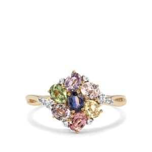 Natural Sakaraha Rainbow Sapphire Ring with White Zircon in 10K Gold 1.80cts