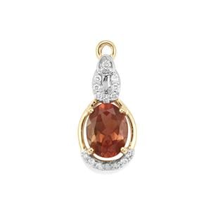 Oregon Sunstone Pendant with Diamond in 18K Gold 1.14cts