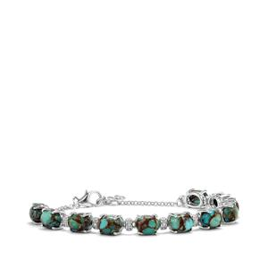 Egyptian Turquoise Bracelet with White Topaz in Sterling Silver 14.88cts