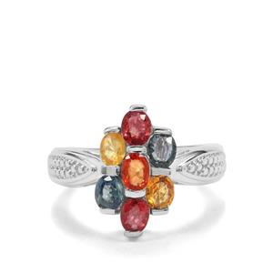 2.21ct Songea Multi Sapphire Sterling Silver Ring