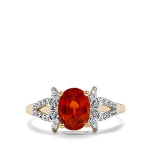 Mandarin Garnet Ring with White Zircon in 10K Gold 1.93cts