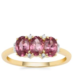 Malaya Garnet Ring with White Zircon in 9K Gold 1.71cts