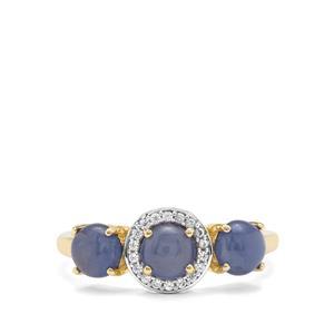 Burmese Blue Sapphire & White Zircon 9K Gold Ring ATGW 2.35cts
