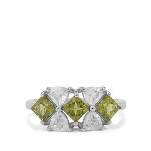 Arizona Peridot Ring with White Zircon in 9K White Gold 2.65cts