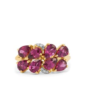 Comeria Garnet Ring with Diamond in 9K Gold 3.65cts