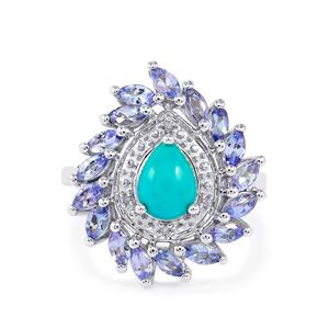 Sleeping Beauty Turquoise, Tanzanite & Diamond Sterling Silver Ring ATGW 2.34cts