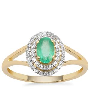 Colombian Emerald Ring with White Zircon in 9K Gold 0.75ct